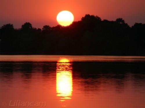 Zonsondergang, rivier, Zambezi, Livingstone, Zambia, Afrika
