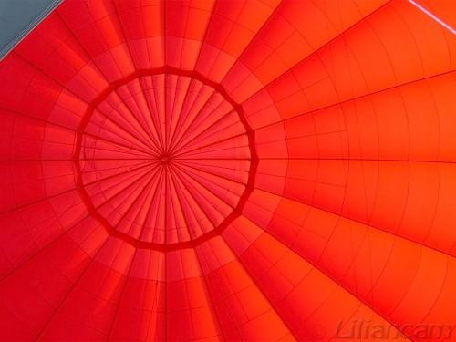 Luchtballon, hete luchtballon, binnenkant luchtballon, luxor, egypte, rode ballon, lijnenspel