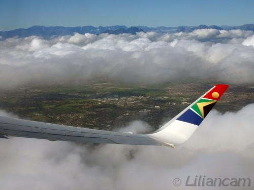 Zuid Afrika, Kaapstad, South African Airlines, Vliegtuig, Wolken, Vleugel, Vlag